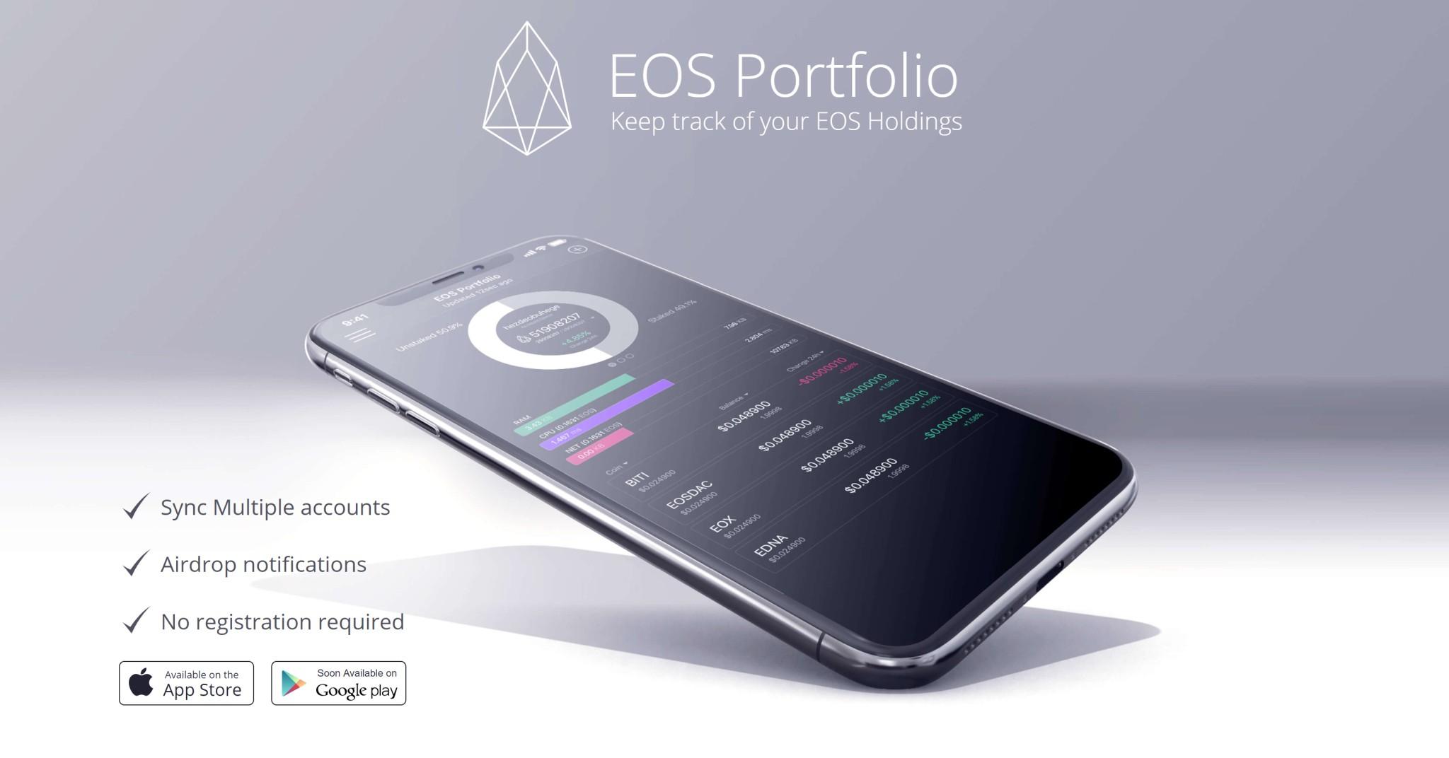 EOS Portfolio Tokens Tracker App